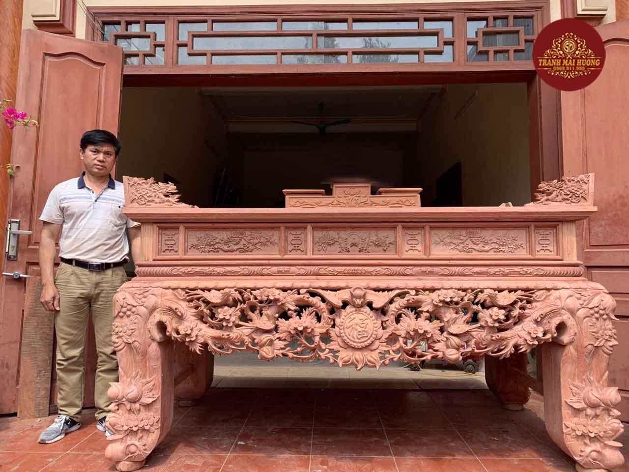 Sập thờ gỗ hương đá chân 24 hàng vip