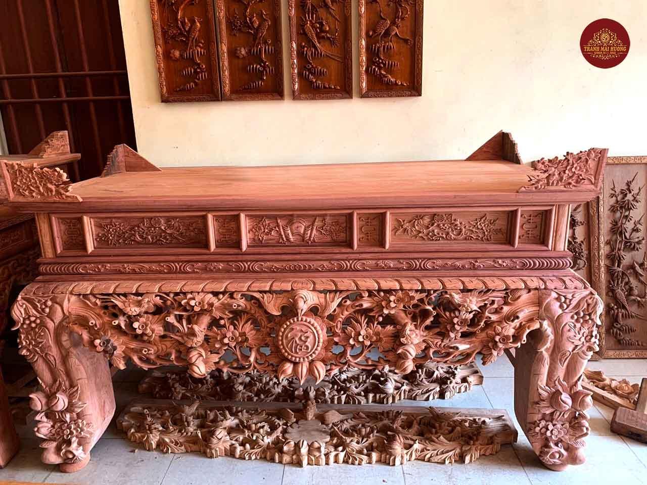 Sập thờ mai điểu gỗ hương đá chân 24