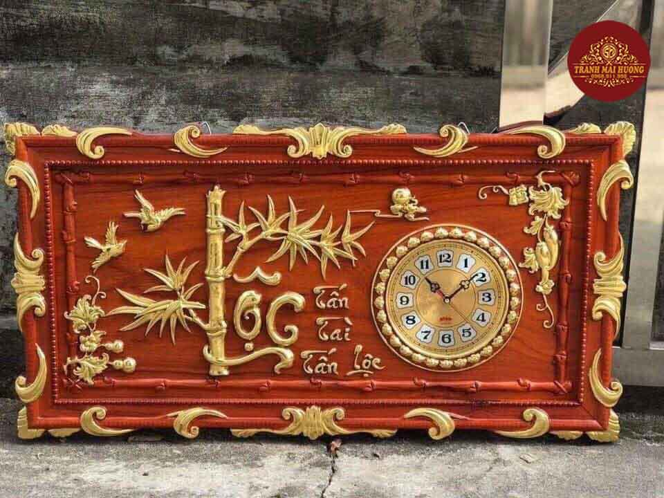 Tranh đồng hồ cành trúc Lộc dát vàng. KT: 45x85x3