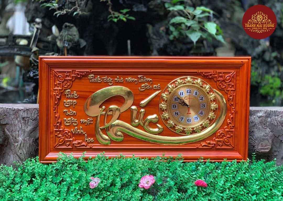 Tranh đồng hồ gỗ hương chữ phúc. KT: 41x81x3