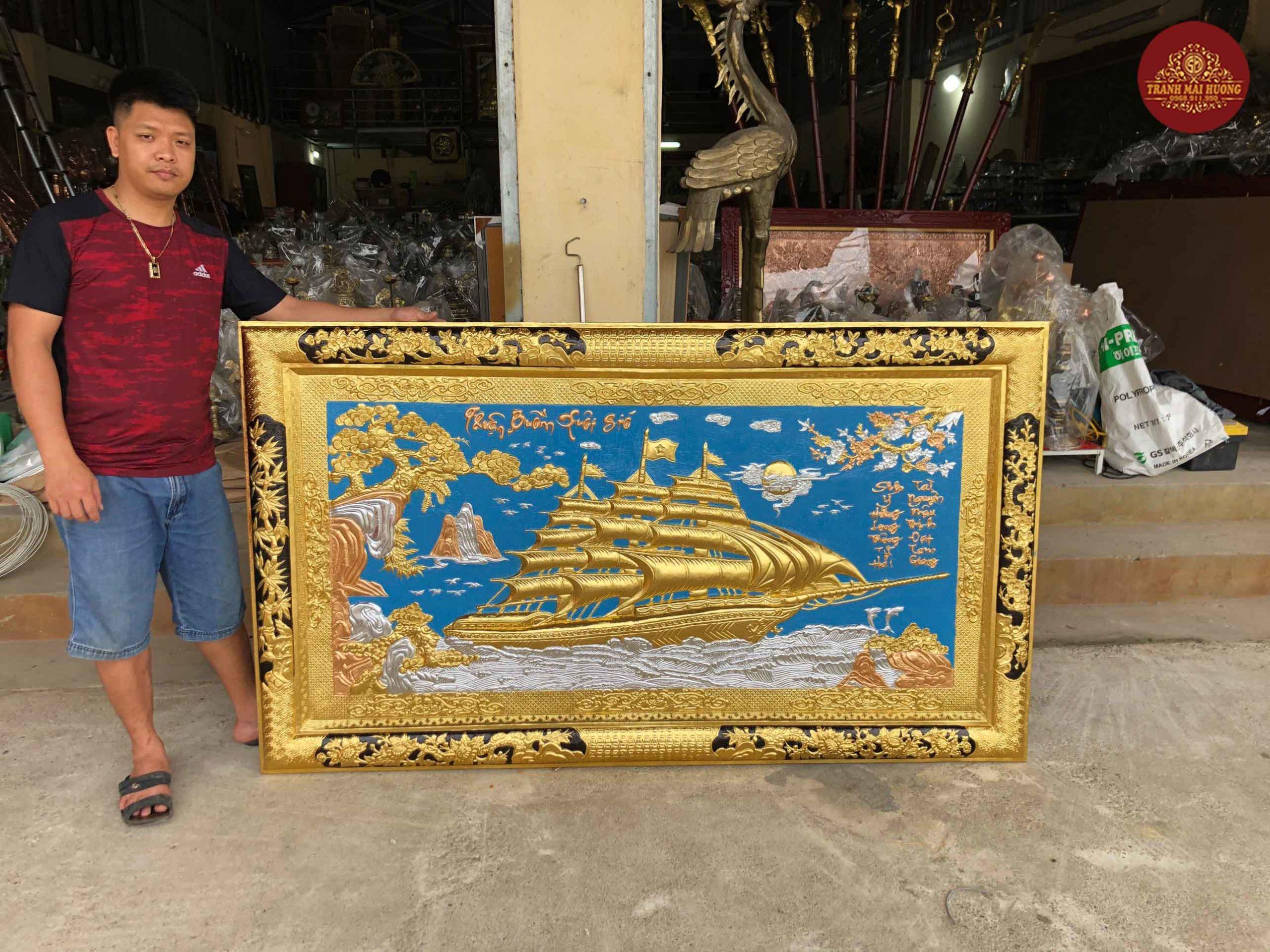 tranh đồng thuận buồm xuôi gió dát vàng