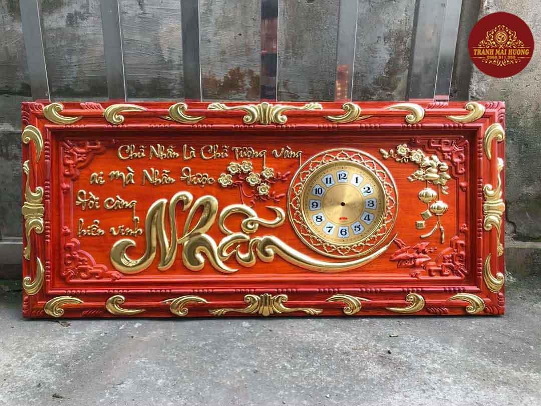 Tranh đồng hồ gỗ hương chữ Nhẫn khung cổ điển. KT: 48x108x3