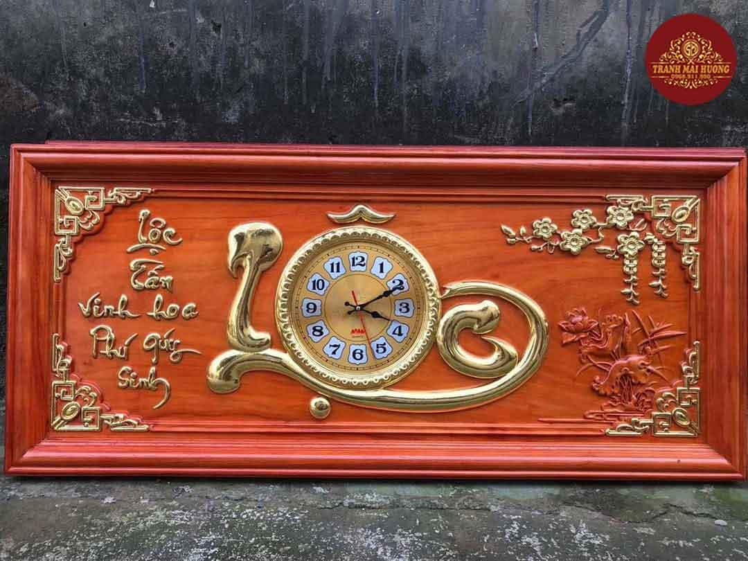 Tranh đồng hồ gỗ hương chữ Lộc. KT: 48x108x3