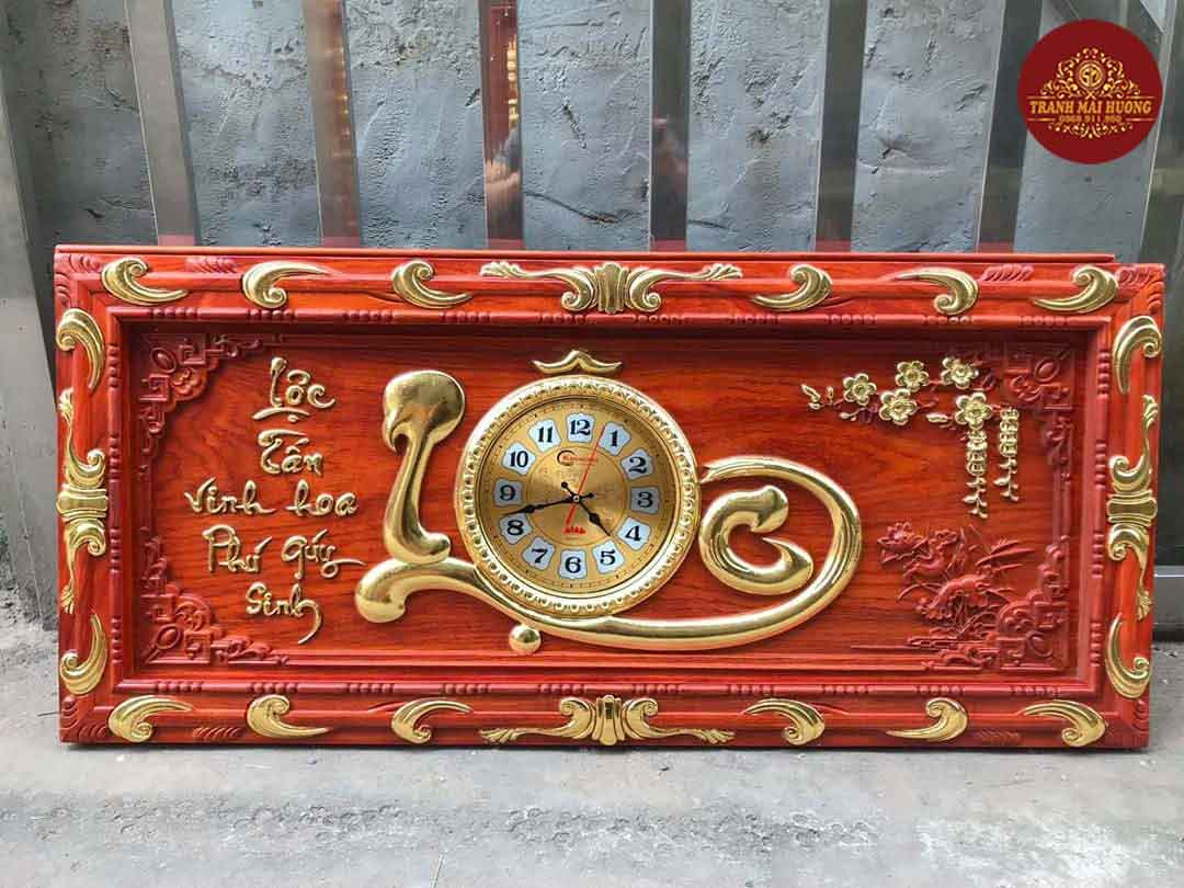 Tranh đồng hồ gỗ hương Lộc dát vàng. KT: 48x108x3