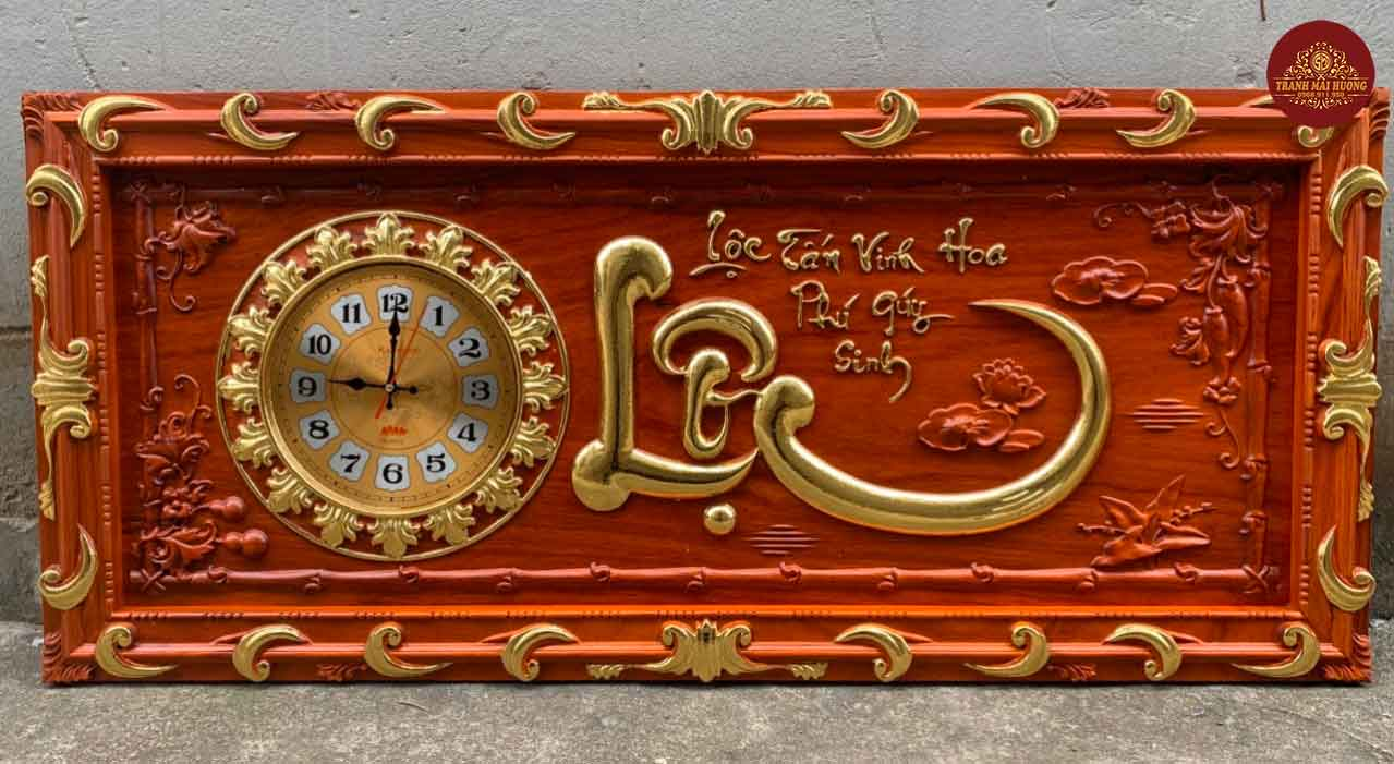 Tranh đồng hồ gỗ hương chữ Lộc dát vàng. KT: 48x108x3