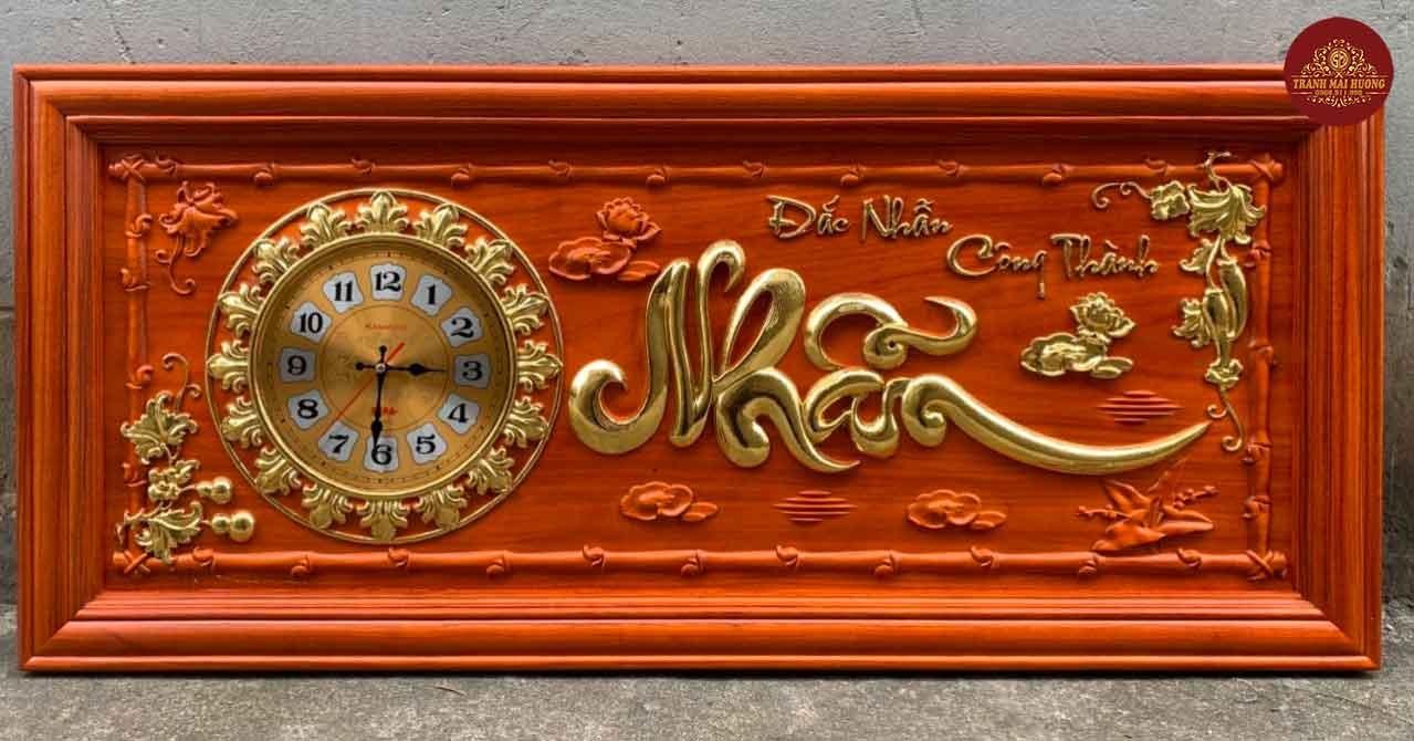 Tranh đồng hồ gỗ hương chữ Nhẫn. KT: 48x108x3