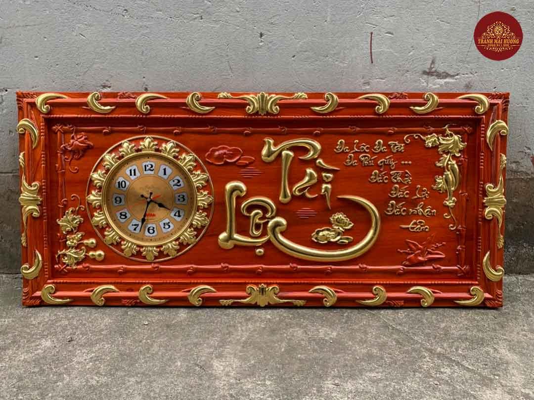 Tranh đồng hồ gỗ hương chữ Tài Lộc dát vàng. KT: 48x108x3