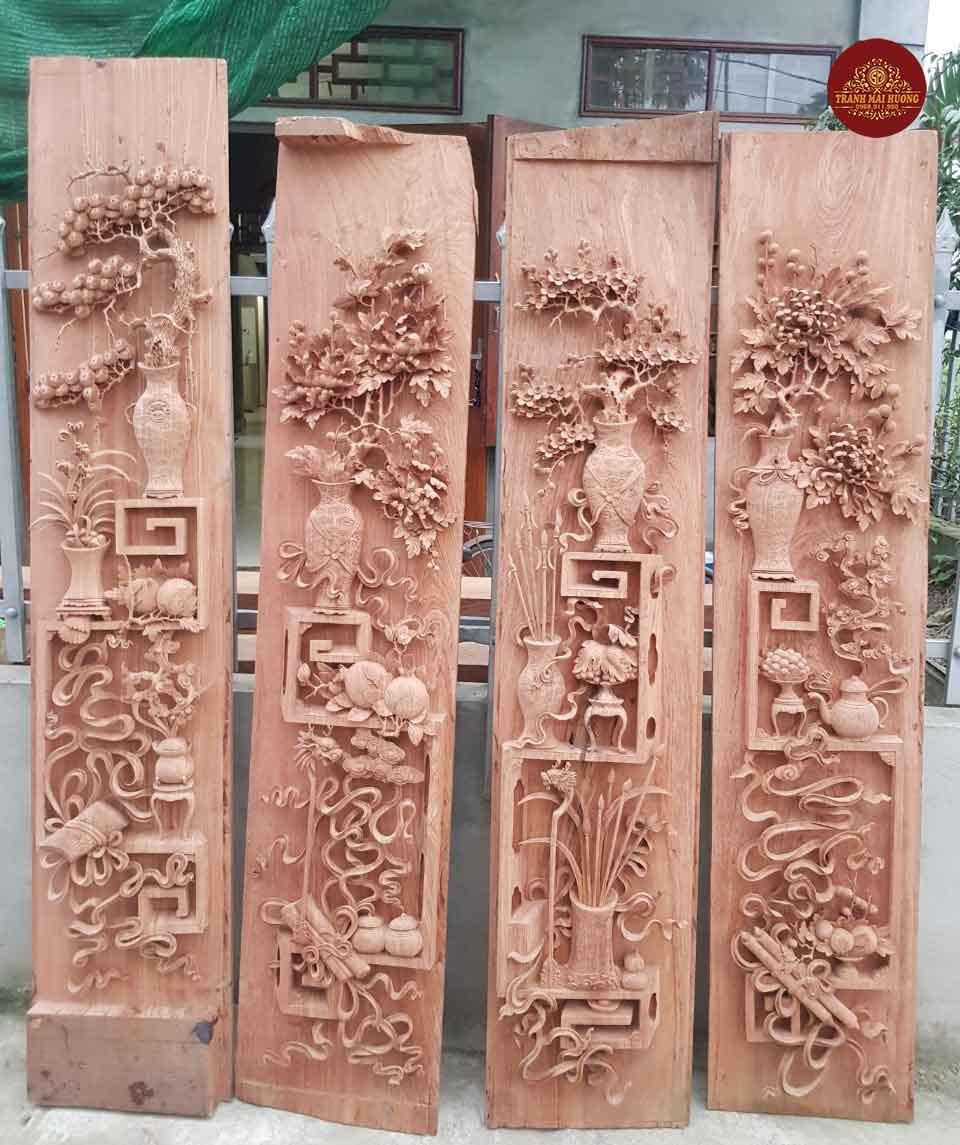 Siêu phẩm bộ tranh tứ bình gỗ hương đá đẹp suất sắc. KT: 67x217x10