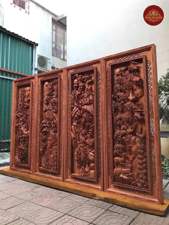 Bộ tranh tứ quý gỗ hương đục kênh bong. KT: 1m45x57x9