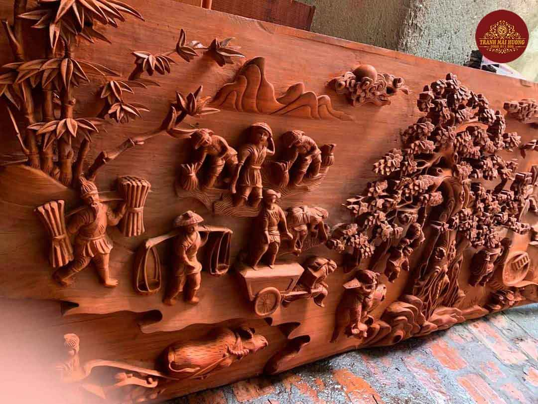 Tranh gỗ hương đồng quê mẫu mới nhất năm 2020. KT: 237x117x8