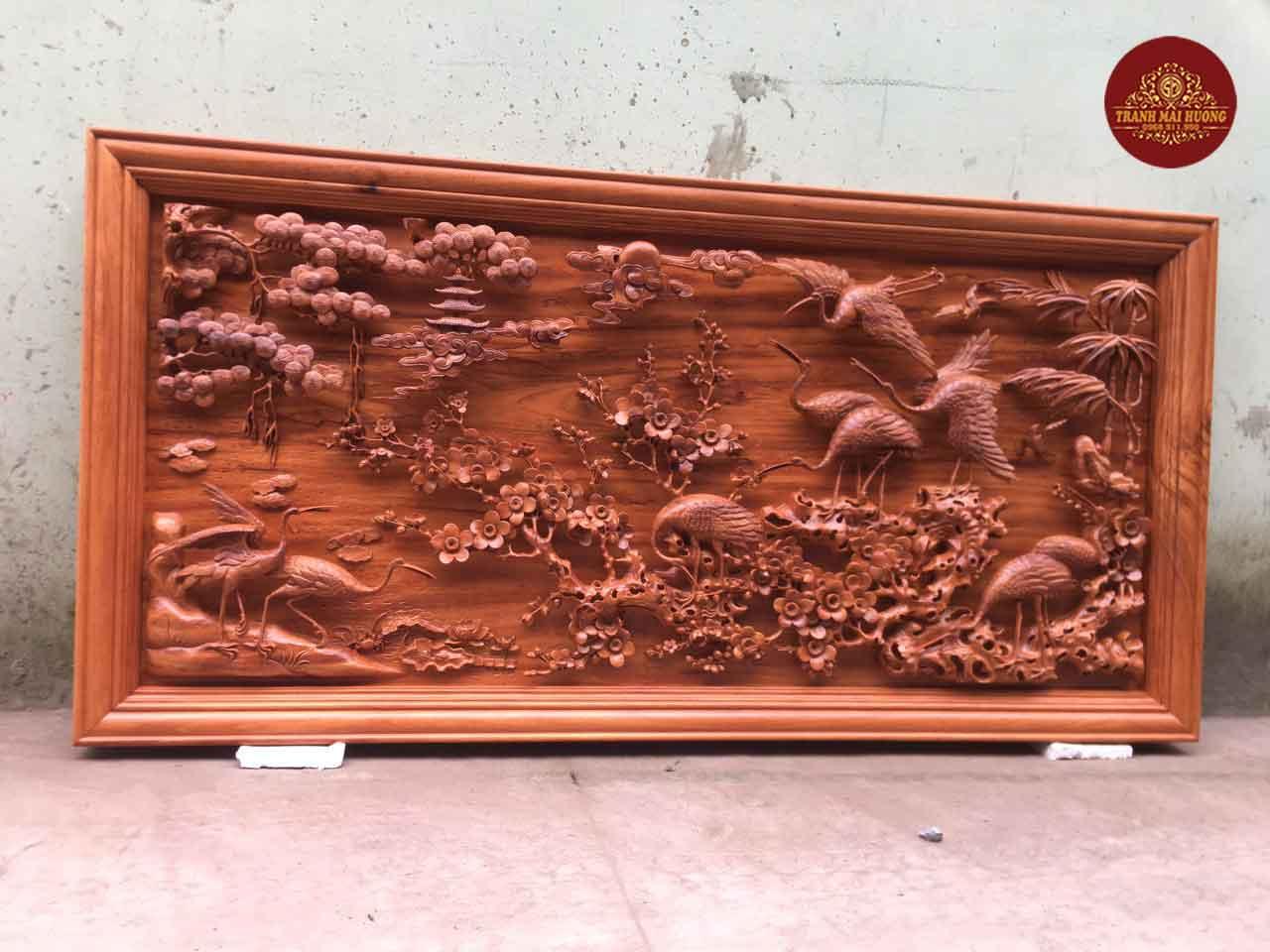 Tranh gỗ hương đá cửu hạc du xuân. KT: 237x117x8