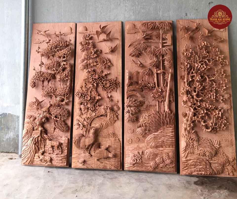 Tranh gỗ tứ quý đục tay kênh bong sắc nét. KT:115x39x6,5