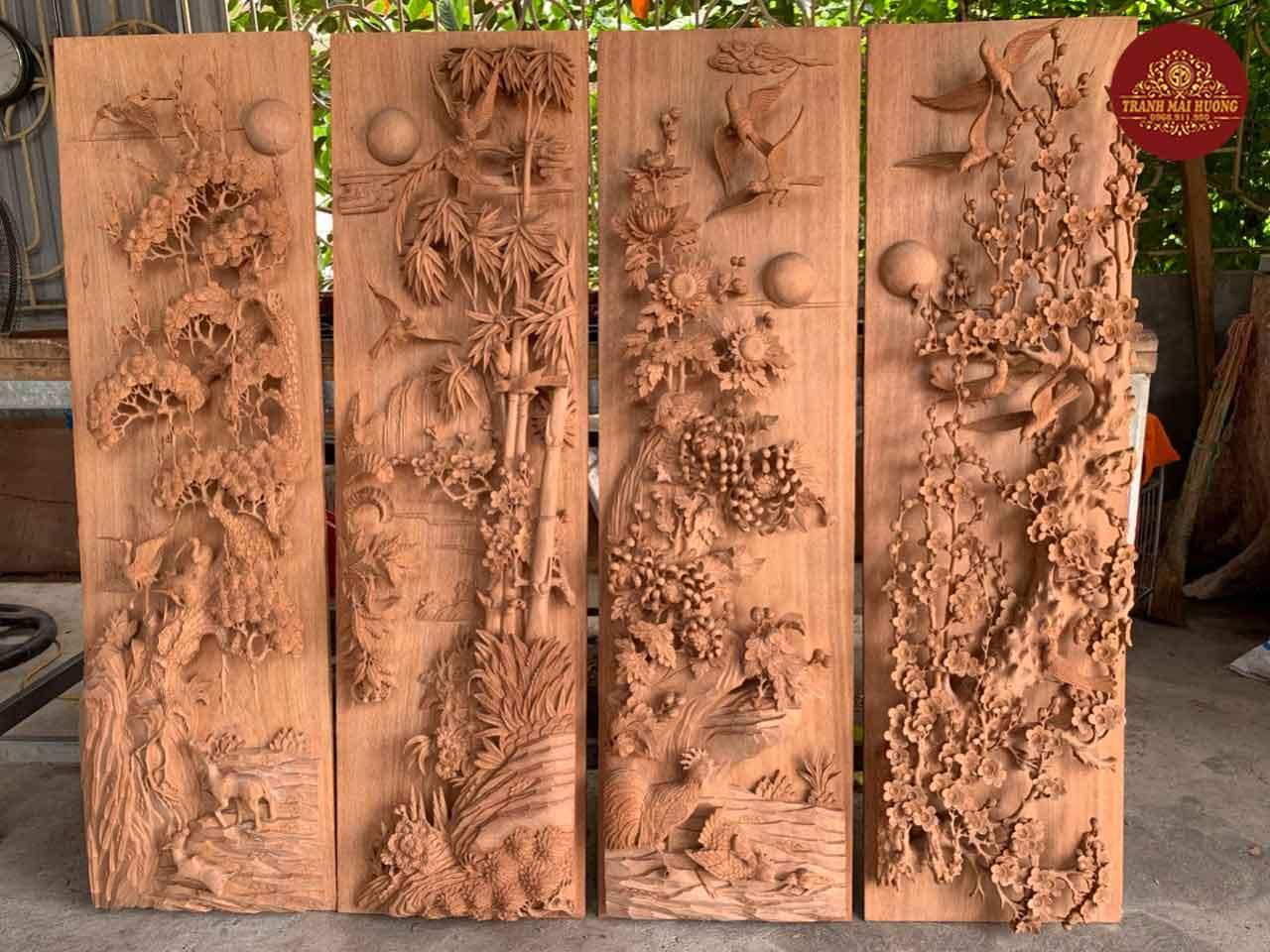 Bộ tranh tứ quý gỗ hương đá đục tay thủ công. KT: 42x140x8