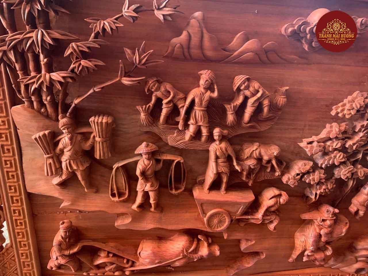 Tranh gỗ đồng quê đục tay kênh bong mẫu mới. KT: 237x117x8