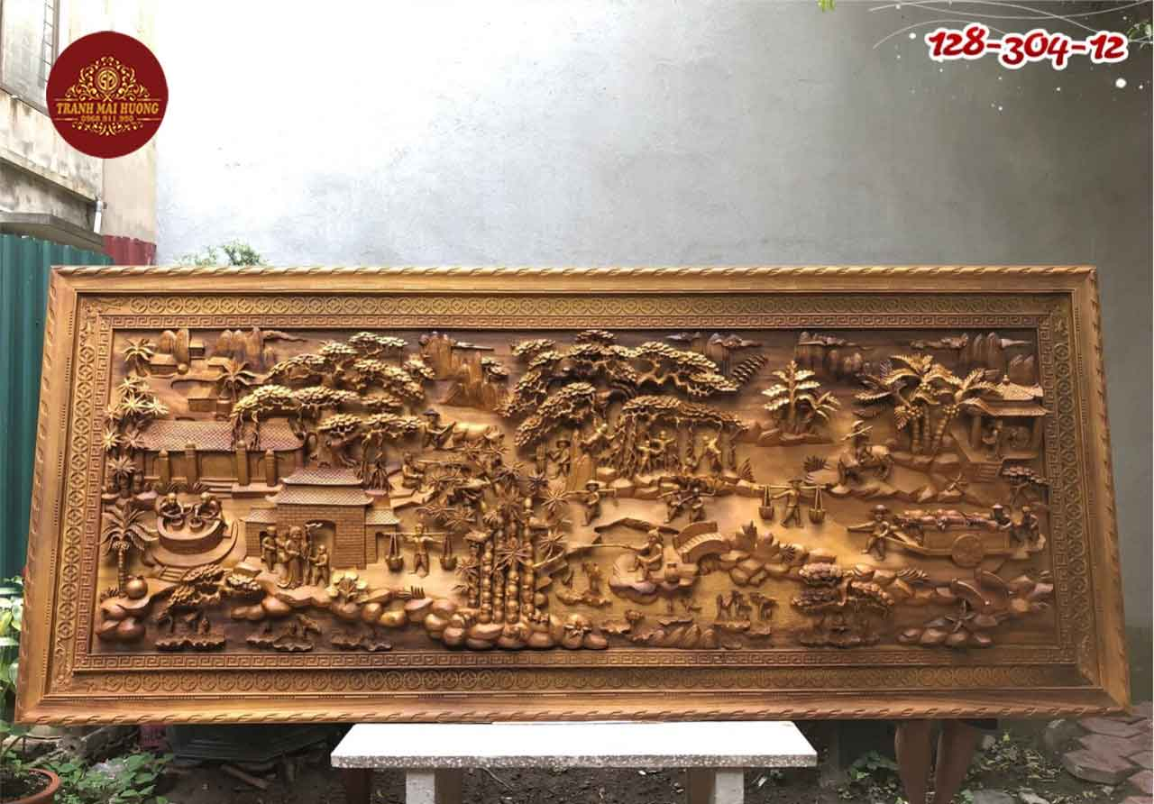 Tranh đồng quê gỗ bách xanh Sơn La vip. KT:3m04x1m28x12