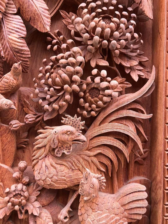 Tranh tứ quý gỗ hương đá đục tay kênh bong. KT: 1m37x56x7.5