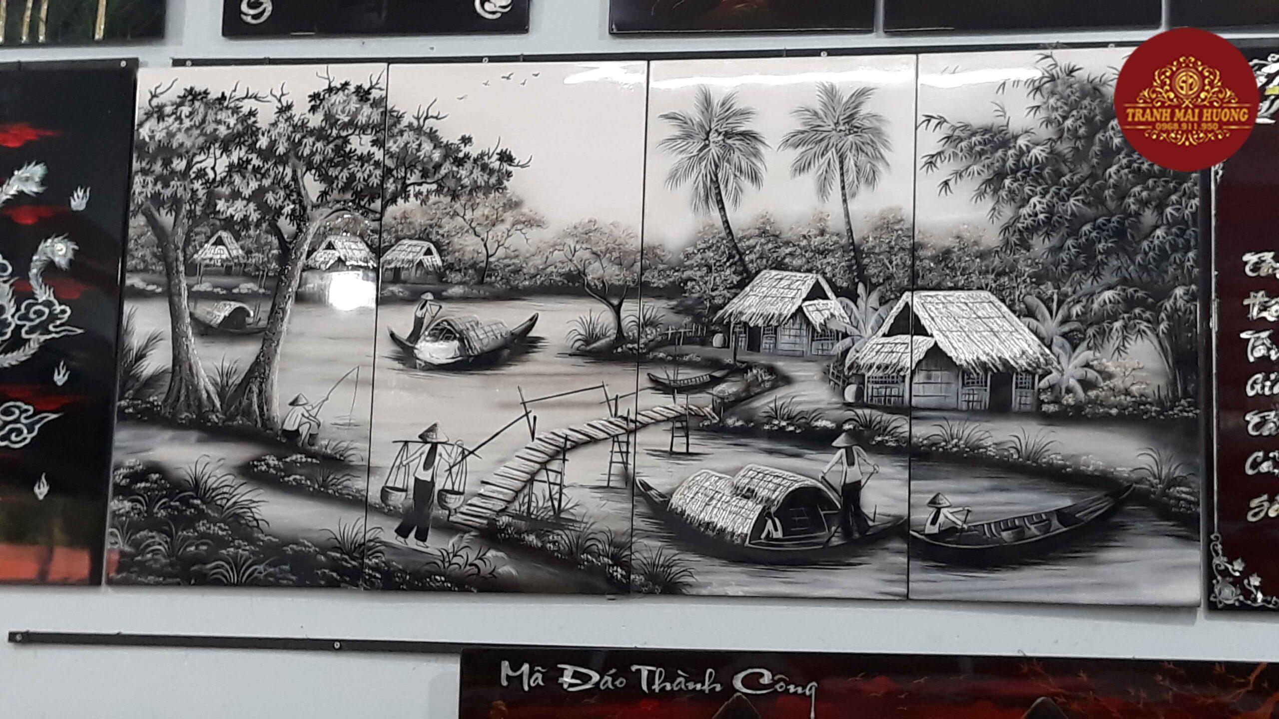 Tranh sơn mài bộ 4 tấm cảnh đồng quê-ĐQ16