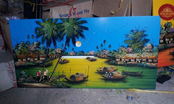 Tranh sơn mài phong cảnh đồng quê-ĐQ09