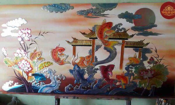 Tranh sơn mài cá chép hóa rồng đẹp