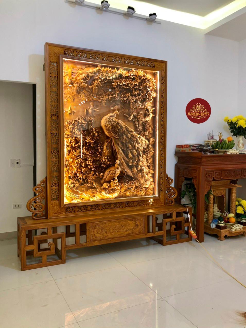 Tranh gỗ đẹp phù dung công trang trí phòng khách
