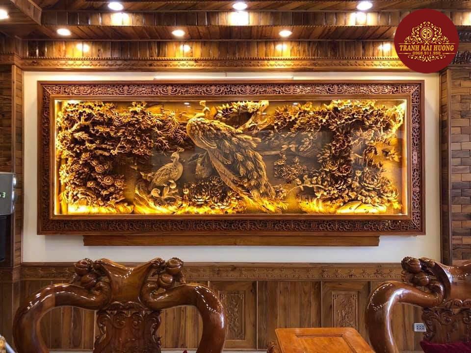 Tranh gỗ đẹp treo tường phù dung công