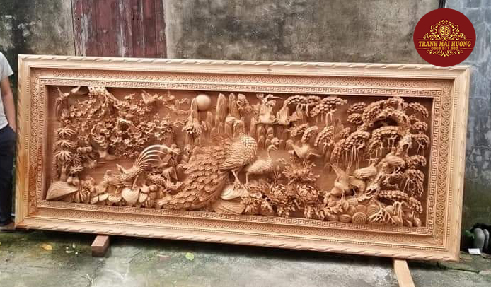 Siêu tranh phu thê viễn mãn chất gỗ gõ đỏ nguyên khối.