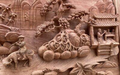 tranh đồng quê gỗ hương đá đục kênh bong (2)