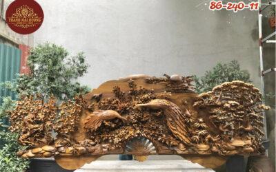 Tranh quạt phu thê viên mãn gỗ bách xanh (1)