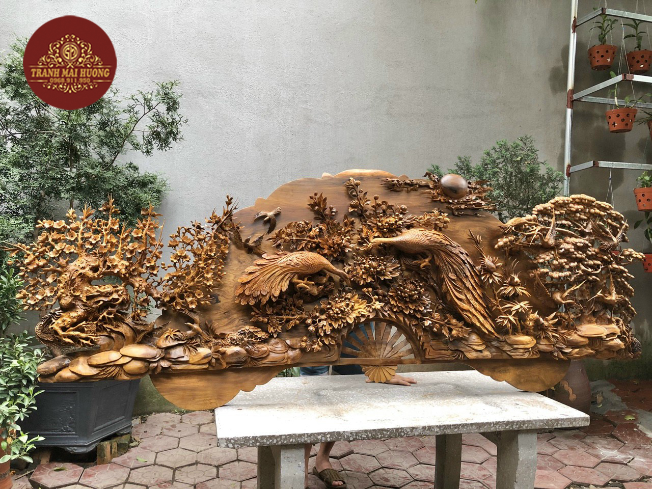 Siêu quạt phu thê viên mãn gỗ bách xanh đẹp nhất thế giới. Hàng nghệ nhân làng mộc