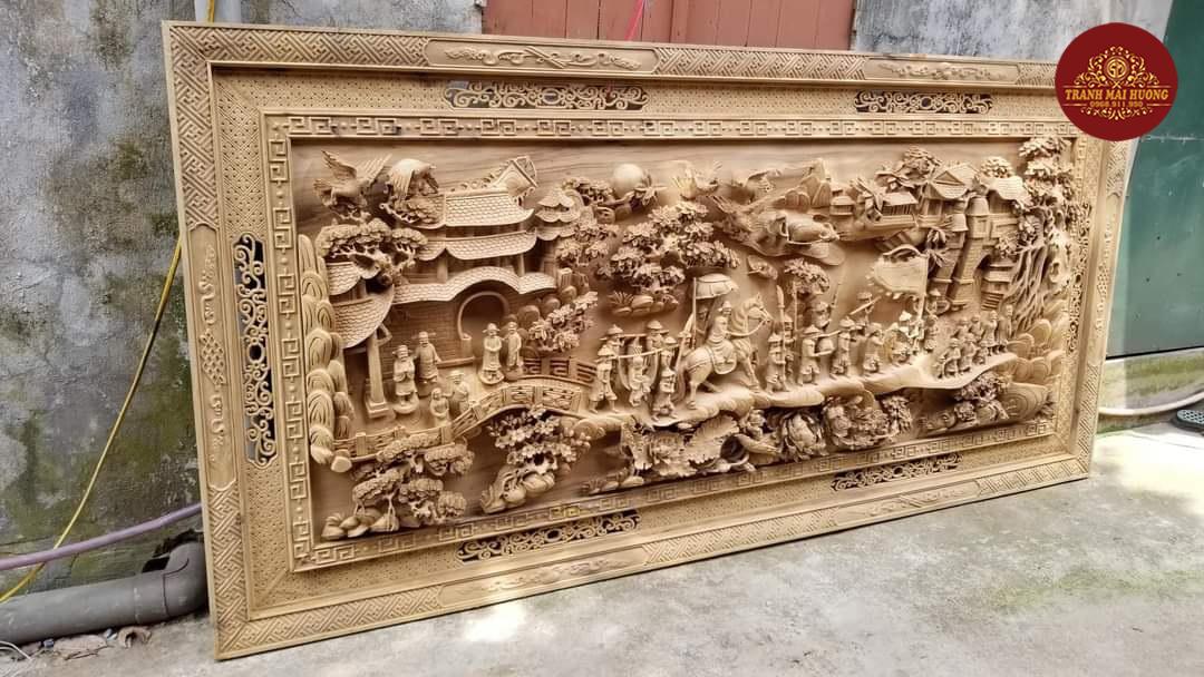 Siêu phẩm tranh gỗ vinh quy bái tổ gỗ bách xanh Sơn La quý hiếm