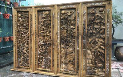 tranh tứ quý gỗ bách xanh đục đẹp nghệ nhân (1)