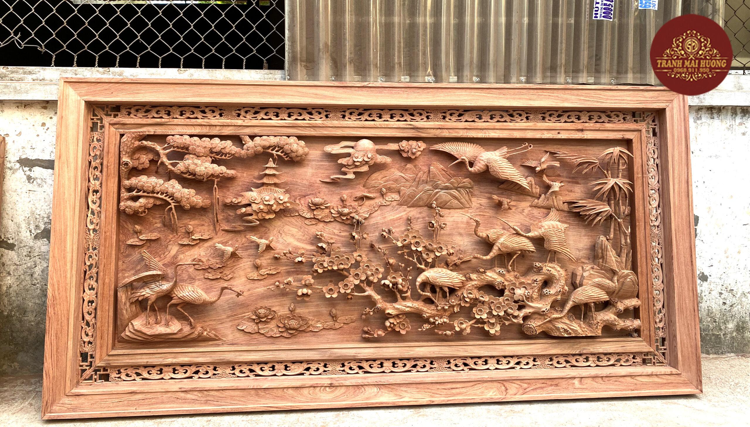 Tranh gỗ cửu hạc du xuân đục kênh bong dày 12cm